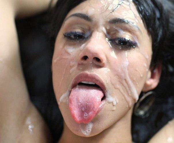 Лица и тела девушек политые спермой